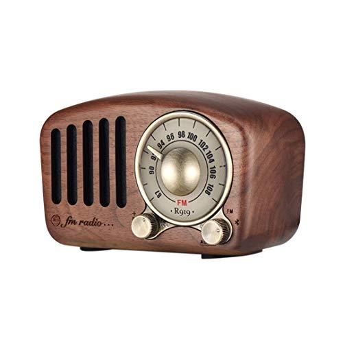 Kaxofang Radio Retro Vintage Altavoz - Nogal Madera Radio FM, Fuerte Bajo...