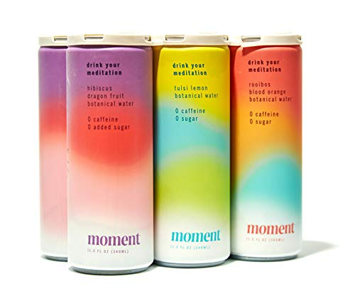 Moment Botanical Water (Variety). Healthy & Natural: Dragon Fruit, Blood Orange, Lemon. L-Theanine and Ashwagandha for Zen & Stress Relief. No Caffeine or Added Sugar. Keto. AS SEEN ON SHARK TANK. 12 Cans