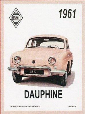 PLAQUE METAL 20X15cm RENAULT DAUPHINE MODELE 1961