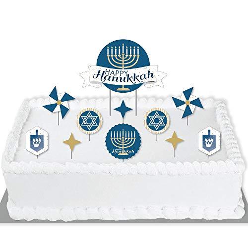 Big Dot of Happiness Happy Hanukkah - Chanukah Holiday Party Cake Decorating Kit - Happy Hanukkah Cake Topper Set - 11 Pieces