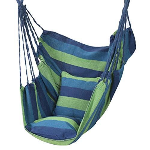 dehong XXL Gestell Für Hängesessel with Gebundenes Seil + Kissen + Aufbewahrungstasche,100x130cm (Bis 200kg Belastbar) Blaue Streifen Papasan Chair für Indoor Outdoor Hängematte