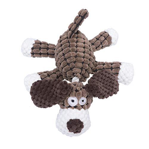 Balacoo Honden Knuffels Kauwspeelgoed Duurzaam Pluche Kauwspeelgoed Zachte Interactieve Tandenreinigingsspeelgoed Voor Kleine Middelgrote Grote Honden Katten (Bruin)