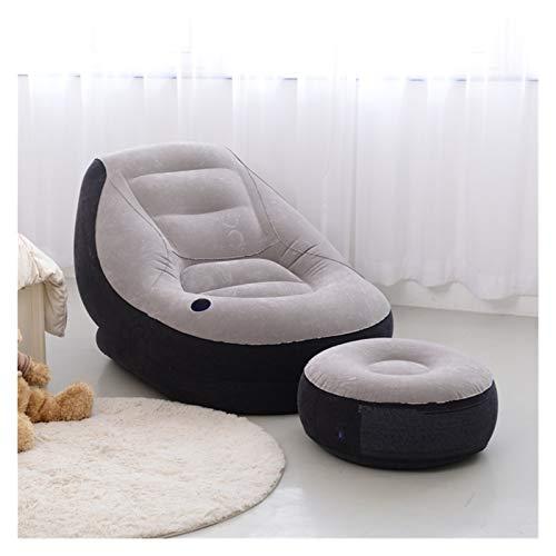 ZZNVS Sofá Perezoso de Moda El Conjunto de sofá Inflable de Flocado Perezoso, sofá de Ocio (Color : Gray)