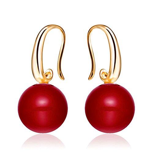 Merdia Charming Hook Drop Earrings with Simulated Red Pearl Earrings 12MM