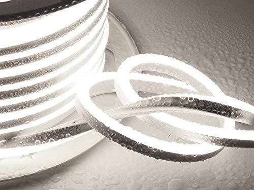 Ogeled 1-50m Neon LED Strip Warmweiß Neutralweiß Kaltweiß ohne Lichtpunkte Wasserfest Innen/Außen 230V Dimmbar (Kaltweiß, 14m)