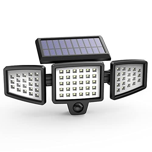 Luz Solar, Hosome Lámpara de Pared Solar Exterior con 3 Cabezales Ajustables, 3 Modos Lámpara Solar con Sensor de Movimiento 270° Rango de iluminación Impermeable IP65 para Garaje/Jardín/Patio