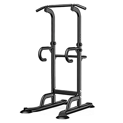 Evangelia.YM Dipping Station Stand Power Tower Cage Racks, 440LBS Capacity Pull Push Up Bar Home Gym Strength Training Workout Equipment, US Warehouse (Black)