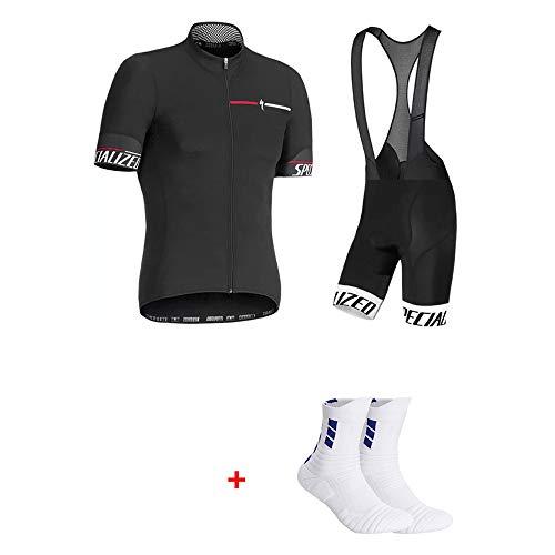 ZYQZYQ Conjunto De Jersey De Ciclismo para Hombre Pantalones Cortos De Verano De Manga Corta para Mujer Camiseta para Ciclismo Ropa Traje,Black-S
