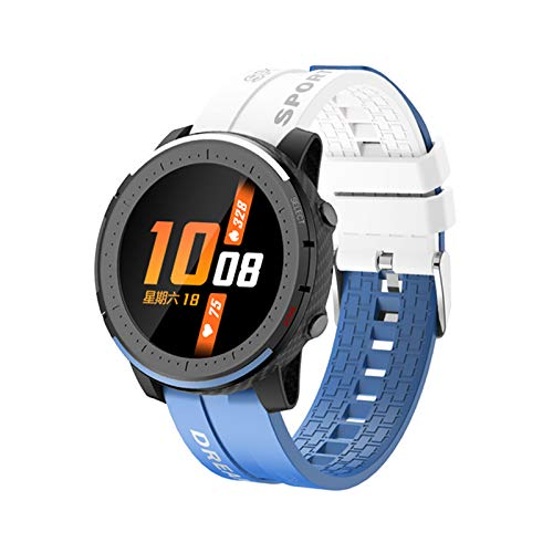 Prettyia Smartwatch Bluetooth Smart Watch Fitness Tracker IP67 Pulsera Impermeable para Android - Blanco Azul
