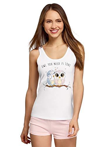 oodji Ultra Mujer Pijama de Algodón con Estampado, Blanco, ES 44 / XL
