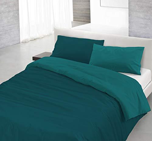 Italian Bed Linen Natural Color Parure Copri Piumino, 100% Cotone, Verde Petrolio/Verde Bottiglia, Piazza E Mezza, 2 unità