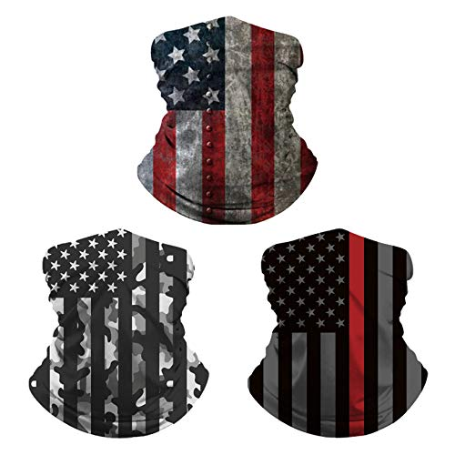 DREAM HORSE 3 Pcs American Flag Washable Neck Gaiter Seamless Breathable Face Cover Scarf
