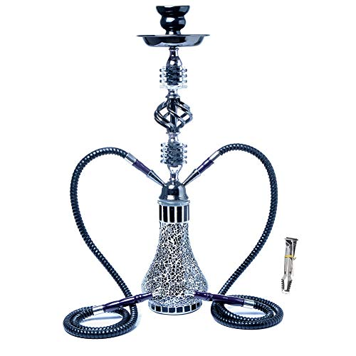 SENDEREAL Hookah Complete Set 2 Hose Luxury Blue and White Porcelain Pattern Glass Hookah with Ceramic Bowl and Carbon Clip Advanced Hookah Shisha Experience,Black