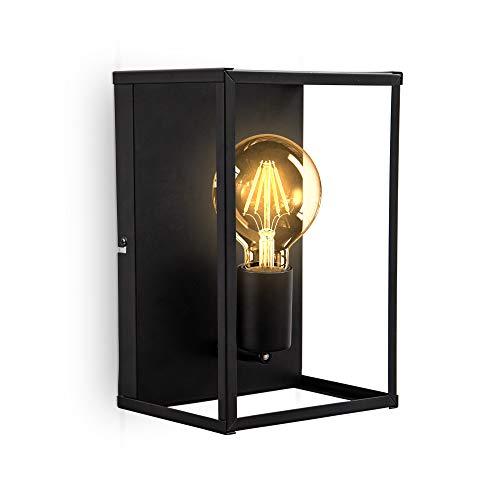 B.K.Licht I 1-flammige Käfig-Deckenleuchte und Wandleuchte I E27 Fassung I Metall I Schwarz- Matt I Cage I Deckenlampe