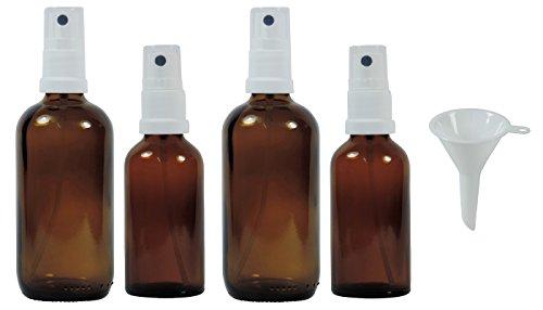 Viva Haushaltswaren #45060#- 4 x Apotheker-Sprühflasche im Set (2x50 ml & 2x100 ml) aus Braunglas, kleine Glasflaschen mit Zerstäubereffekt - Made in Germany & BPA frei (inkl. einem Trichter Ø 5 cm)