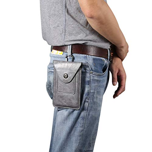 ZHANGHUI Funda Protectora Elefante Textura Hombres Ocio Simple Universal Teléfono móvil Paquete de Cintura Caja de Cuero + Ranura for Tarjeta, Adecuada for teléfonos Inteligentes de 5,5-6.5 Pulgadas