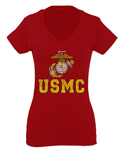 Marine Corp USMC Big Logo United States of America USA American Soldier for Women V Neck Fitted T Shirt (Red, X-Large)