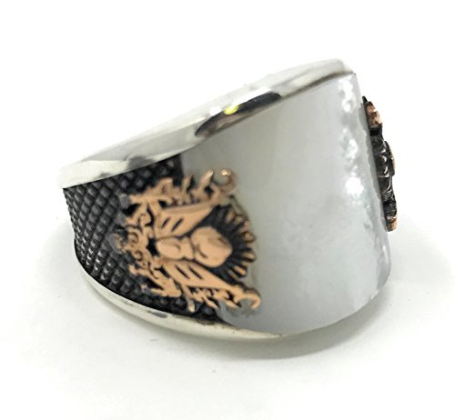KAR 925K Stamped Sterling Silver Pearl Coat of Arms Ottoman Men's Ring K6E (12.5)