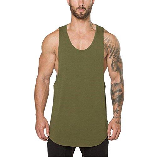D-Rings Camiseta de tirantes para hombre, para fitness, gimnasio, culturismo, fitness, musculatura, sin mangas, camiseta interior, Verde militar., M