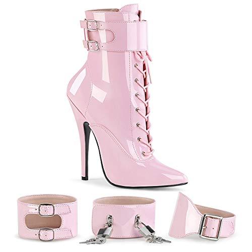 Pleaser Damen DOMINA-1023 High Heels Stiefelette Lack Baby Pink 42.5 EU