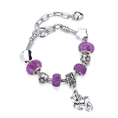 ATE Charm Pulsera Unicornio Colorid Dijes Cristales Regalo Chicas JWB24 (Púrpura24, 16)