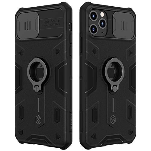 Funda iPhone 11 Pro Max, Nillkin Funda con tapa deslizable para cámara, PC y TPU Funda protectora parachoques resistente a impactos con soporte de anillo para iPhone 11 Pro Max 6.5 pulgadas 2019-Negro