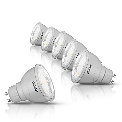 OSRAM LED-Reflektorlampe GU10 Star PAR16 / 5W - 50 Watt-Ersatz, LED-Spot, Abstrahlungswinkel 120° / warmweiß - 2700K, 6er Pack