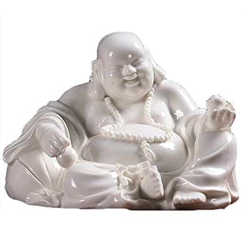 XDYFF Buda Suerte y Salud Estatua Figura de Cerámica Escultura Adornos, Buda Feliz Clásico Delicadas Decoración Regalo,Blanco