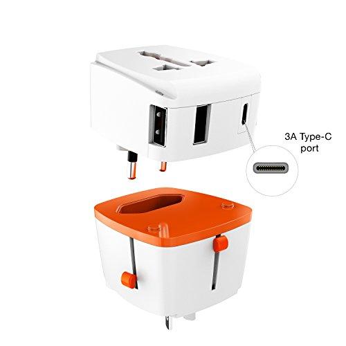 Urbo reisadapter met afneembaar ontwerp en 3 USB-A-poorten en 1 USB-C-poort + intrekbare pennen voor stopcontacten in meer dan 100 landen in Europa, Azië, Amerika, Afrika en Oceanië.