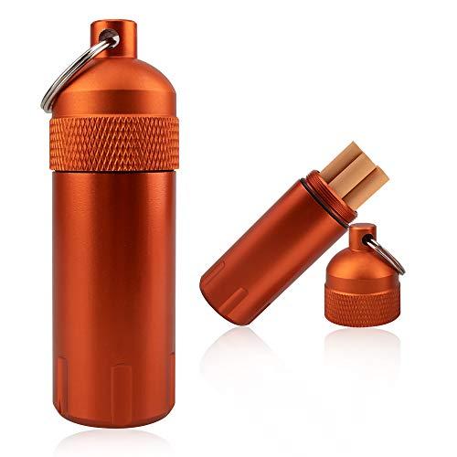 [TEMLUM] 携帯灰皿 ステンレス におわない 吸殻入れ おしゃれ 防水 キーホルダー 携帯便利 キーリング・カラビナ付き (オレンジ)