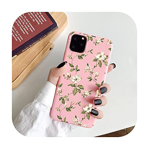 Funda de teléfono floral de moda para iPhone 11 Pro Max 12 Mini 7 8 Plus 6 S XS Max X XR 12Pro SE 2020 Color caramelo suave TPU contraportada T8-Para iPhone 7 Plus