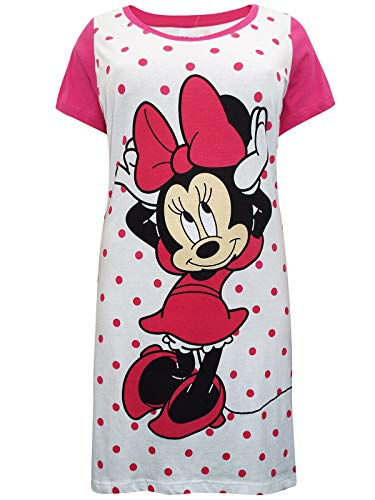 Disney Nachthemd für Damen, 100 % Baumwolle, Minnie Maus, kurze Ärmel Gr. 52-54, Wie abgebildet.