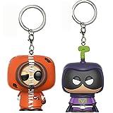 QIYV Pop Keychain 2Pcs / South Park Kawaii Q Version Figura De Anime Kenny / Mystery Box Pop Vinilo Figuras De Acción Juguete 5Cm, Colección De Decoración De Juguetes para Niños