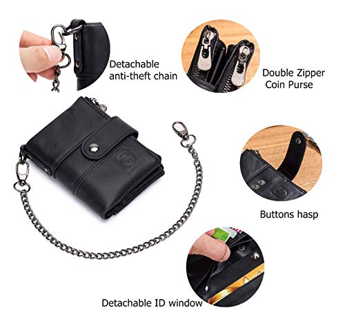 BULLCAPTAIN Men Wallet Genuine Leather RFID Blocking Wallets with Anti Theft Chain Double Zipper Coin Pocket Large Capacity 3