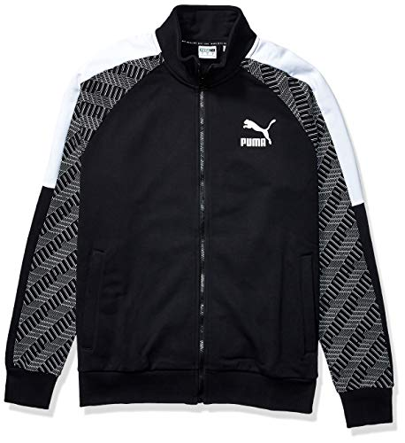 PUMA Herren T7 Track Jacket All Over Print French Terry Jacke, Black-Repeat Logo, Klein