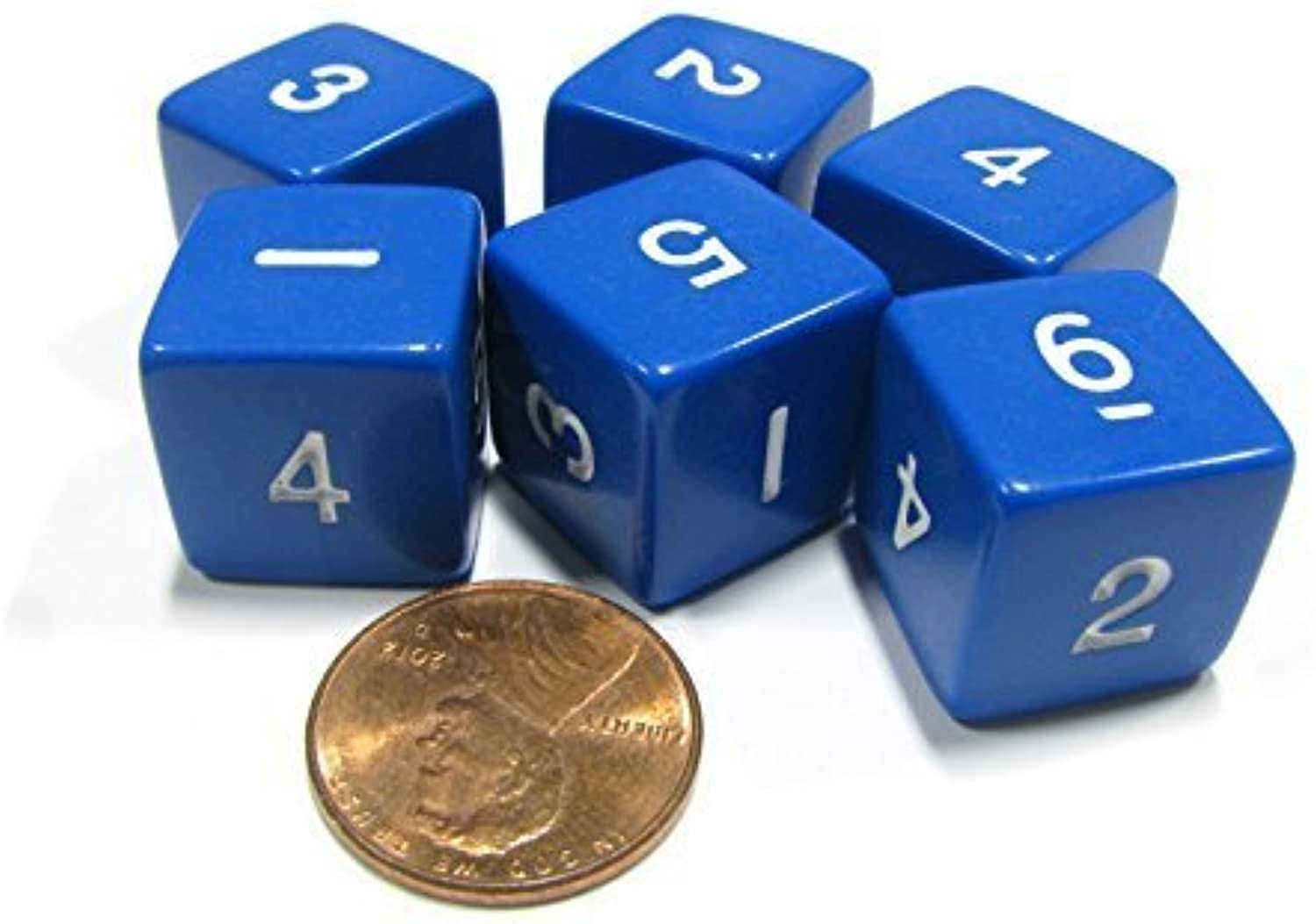 Set of 6 D6 SixSided 16mm Opaque Numbered Dice  bluee with White Numbers by Koplow Games