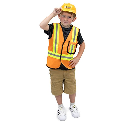 Construction Worker Children's Halloween Dress Up Theme Party Roleplay & Cosplay Costume, Unisex (S, M, L, XL) by Boo! Inc. (Youth Large (7-9)) Orange