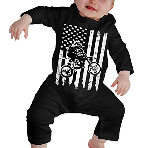maichengxuan Mameluco Bebé Motocross Dirt Bike Pijama de Algodón Mameluco Niñas Niños Pelele Mono Manga Larga Trajes Newborn Black