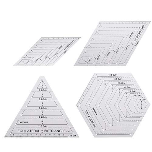 Ohomr 4PCS Quilting Vorlagen Set, Grids Quilting Patchwork Nähen Lineale Set DIY Zeichnung liefert mit 45 bis 60 Grad Dreieck Hexagon Quilting Template