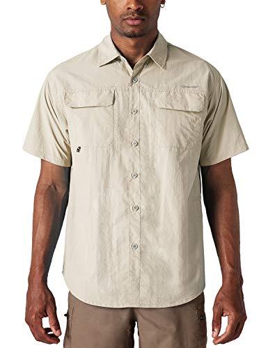 NAVISKIN Herren Kurzarm Hemd Sonnenschutz UPF 50+ Kurzarmshirt Halbarm Funktionshemd schnelltrocknend Wanderhemd Khaki Größe L