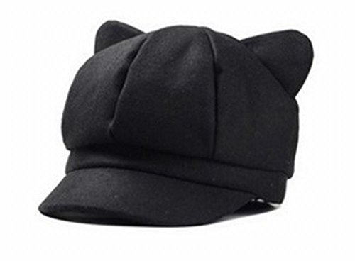 Capli ちょこんと飛び出たネコ耳がキュート 上品 大人 可愛い 猫耳 キャスケット 帽子 コーデ の アクセント にも (ブラック)