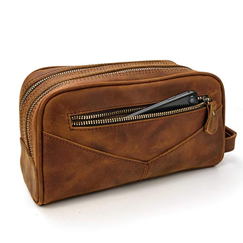 LUUFAN Men's Genuine Leather Toiletry Bag Double Zipper Wallet Clutch Bag for Daily Travel (Brown 2)