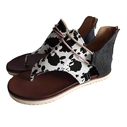 Orgrul Sandalias Mujer Verano 2021, Chanclas Mujer Verano, Planas Sandalias de Mujer Bohemio Brillantes Sandalias PU Piel Elástica Playa Zapatos Separador de Dedos 7EC (35, H)