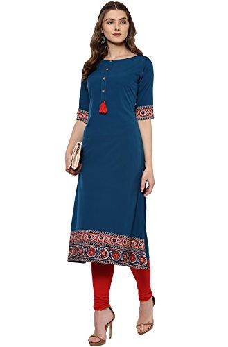 Janasya Indian Tunic Tops Crepe Kurti for Women (JNE2100-KR-144-XL) Turquoise