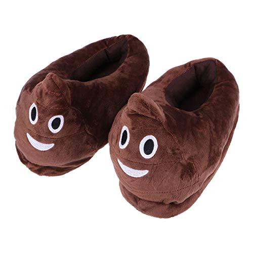 Luoem - Pantuflas de peluche para invierno, suaves, cálidas, antideslizantes, para mujer, hombre, 28,5 cm (divertido y divertido diseño de cara sonriente)