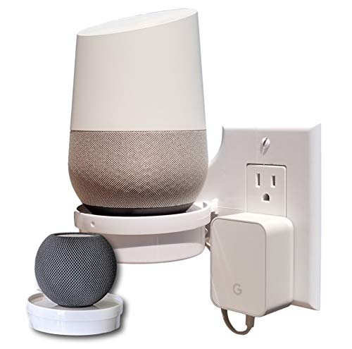 Mount Genie Smart Home Outlet Shelf: Hidden Cord Storage and Extra Custom Short Cords Great for Google Home, Nest, Security Cameras, Smart Speakers, and More