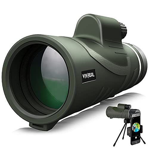Monocular Telescope - 12X42 Monocular for Bird Watching,IPX7 Waterproof HD Monocular for Adults & Kids with Smartphone Holder & Tripod for Bird Watching, Hunting, Camping, Wildlife Scene, Jungle Green
