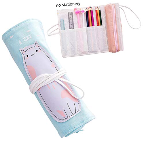 iSuperb Roll up Pencil Case Cartoon Large Capacity Pencil Pouch Organizers Roll Warp Stationery Case Pencil Holder for Women Girls
