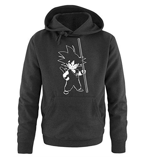 Comedy Shirts Sweat Shirt pour Hommes Son Goku III - Sweat à Capuche pour Hommes Dragon Ball Z - Sweat pour Hommes avec Logo DBZ Noir Blanc s