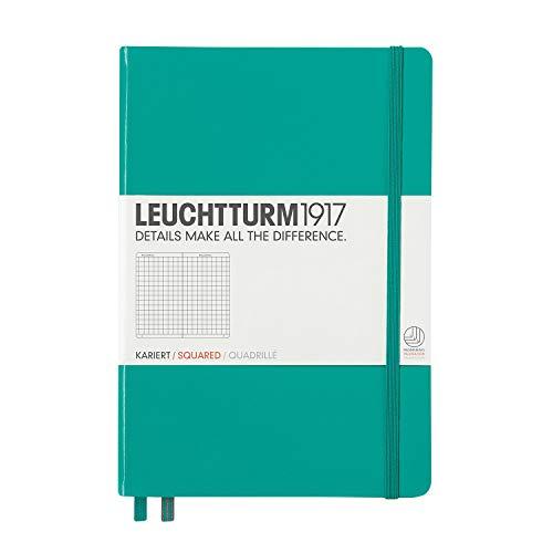 Leuchtturm1917 - Cuaderno (A5, 249 páginas, de cuadros, tapa dura, tamaño mediano), color verde